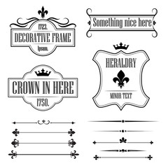 Set of vintage frames, borders and deviders - fleur de lis