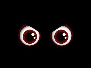 scary halloween red eyes isolated over black