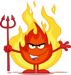 Evil Fire Character Holding Up A Pitchfork In Front Of Flames