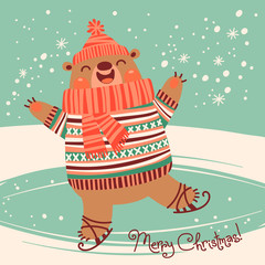 Christmas card with a pretty brown bear on an ice rink.