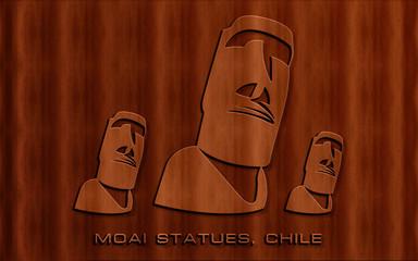 beautiful wood carving texture moai statues chile