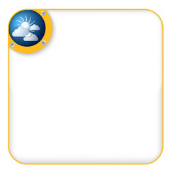 yellow box for entering text with sun and clouds