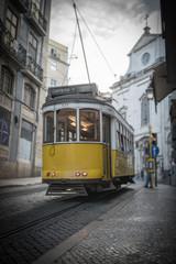 Yellow tramway in Lisbon