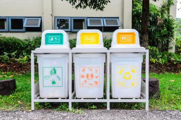 White different bins