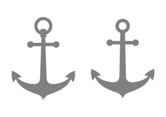 Grey anchor icons on white background