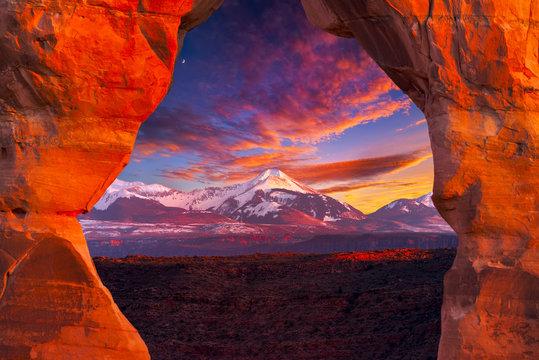 La Sal Mountains, Seen Through Delicate Arch