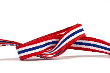 thai flag ribbon pattern on white background  and blank area
