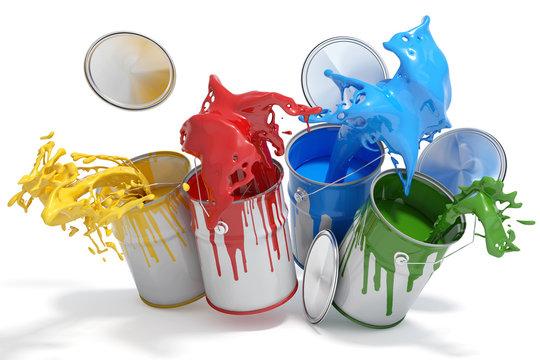 Farbdosen mit verschiedenen Farben
