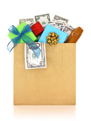 Money and gifts in a paper bag on white background