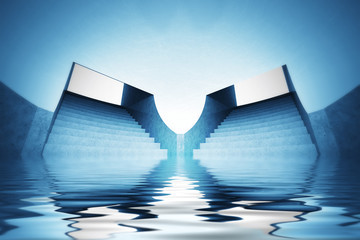 wallpaper scene of spiritual flooded dome interior view..