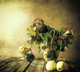 Autumn bouquet Still Life sprigs elderberry
