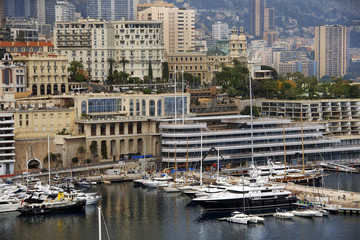 Bay of Monaco and view over Monte Carlo
