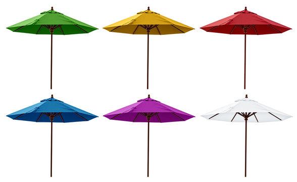 Green, Yellow, Red, Blue, Purple and White Beach Umbrellas
