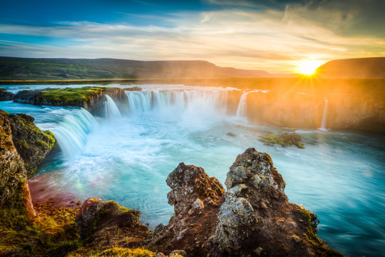 Iceland, Godafoss at sunset, beautiful waterfall, long exposure