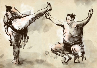 Sumo.An full sized hand drawn illustration in calligraphic style