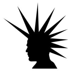 punk haircut silhouette