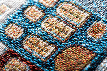 colorful gobelin tapestry texture close-up background