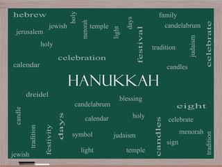 Hanukkah Word Cloud Concept on a Blackboard
