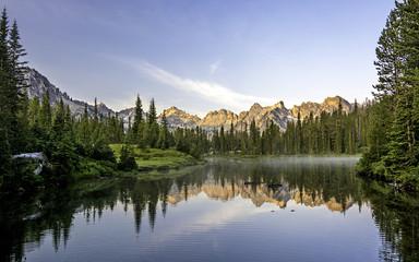 Beautiful mountain scene with a lake