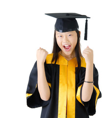 Asian school kid graduate in graduation gown and ca