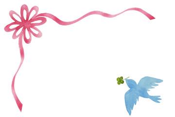 クローバーをくわえた青い鳥とリボンのメッセージカード