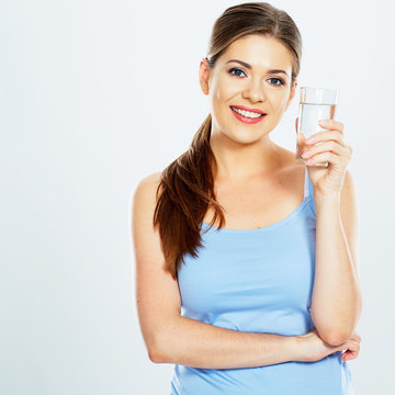 beautifull woman hold water glass isolated on white