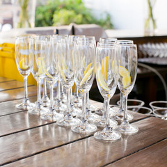 Empty cocktail glass