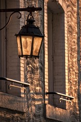 Wall Mural - Vintage city light in the sunset