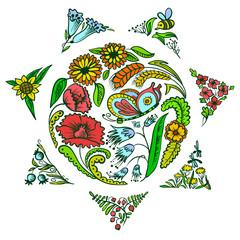 floral sun shape