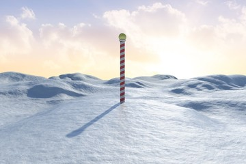 Poster Arctic Snowy land scape with pole