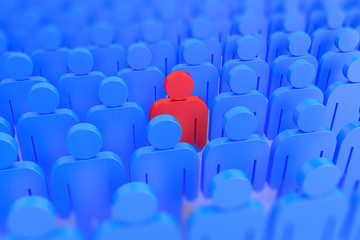A red person in a crowd of blue people