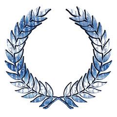 Metallic Laurel Wreath in blue on white