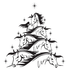 Horse lovers christmas tree 2: horses heads