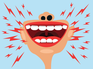 Screaming open mouth vector illustration