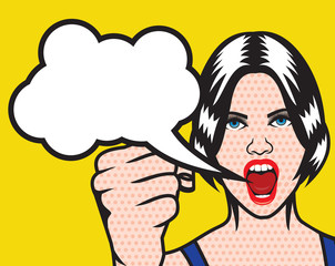 Women rights pop art poster with cloud speech