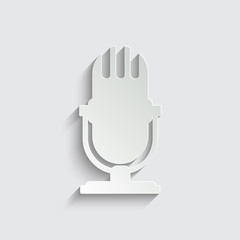 microphone icon with shadow on a grey background