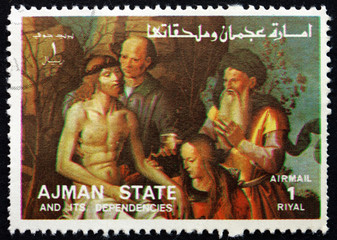 Postage stamp Ajman 1973 Descent from the Cross