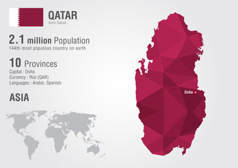 Wall Mural - Qatar world map with a pixel diamond texture.