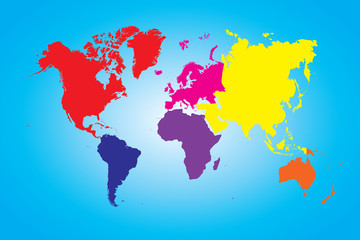 Illustration of a Colored map of world