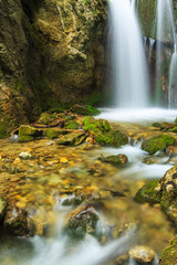 Fotobehang Bossen Deep forest waterfalls in the Transylvanian Alps
