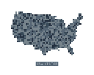 A vector of the United States of America in a pixel art style