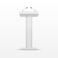White Podium Tribune Rostrum Stand with Microphone