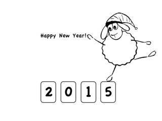 Vector illustration, funny sheep, new year