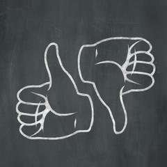Chalk Thumbs Up Thumbs Down
