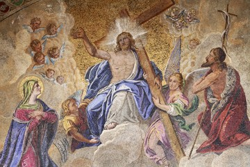 fresco St Marks Basilica in Venice - Jesus in the cross