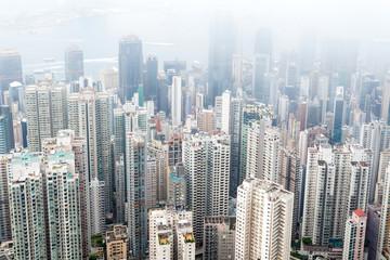 View of high rises from Hong Kong Park in Hong Kong