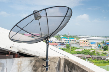 Satellite dish sky communication technology network.