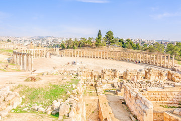 Oval Forum in Gerasa, Jerash, Jordan.