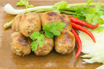 Thai style grilled sausages with vegetable to serve