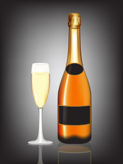 Champagne orange bottle and champagne glass on black